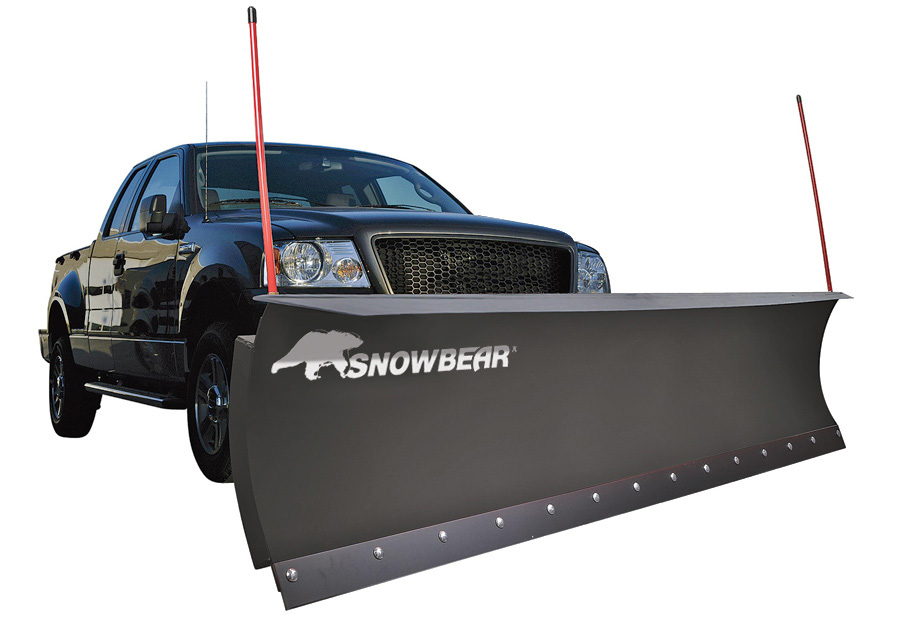 snow plow on the front of a pickup truck