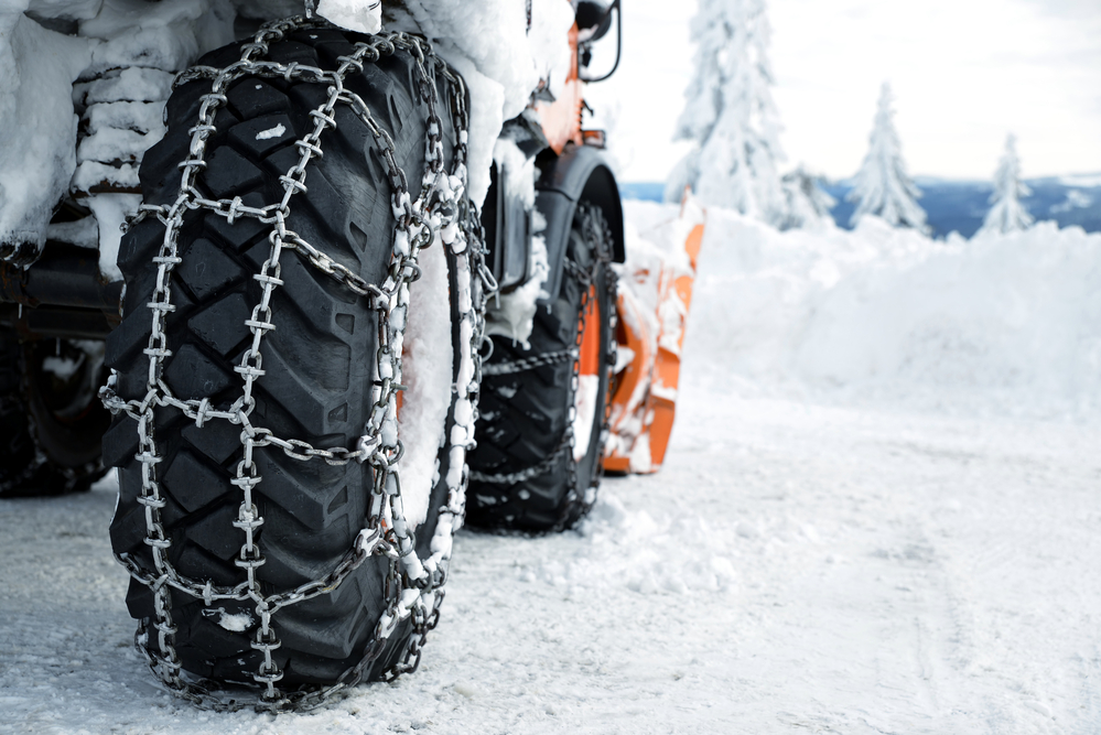 snow chains on rugged tires