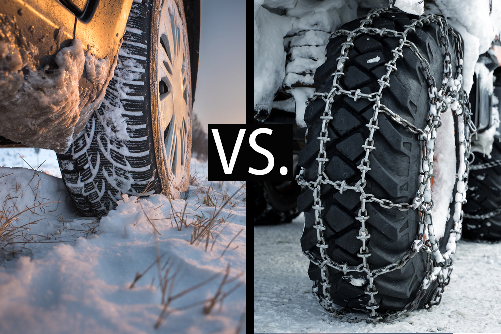 snow tires vs. snow chains